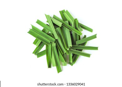 lemongrass leaf slices top view isolated on white background.