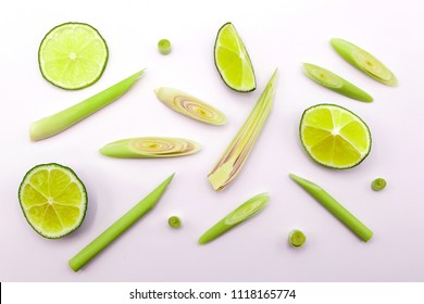 lemongrass and lime slices  isolated on white background.