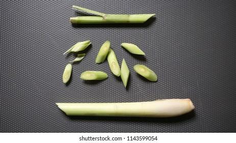 Lemongrass on the chopping board - still life