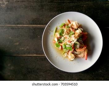 Lemongrass salad with fresh shrimp, Thai food