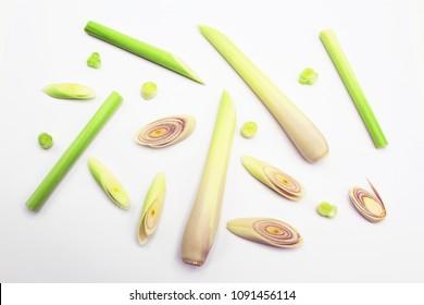 lemongrass slices isolated on white background.