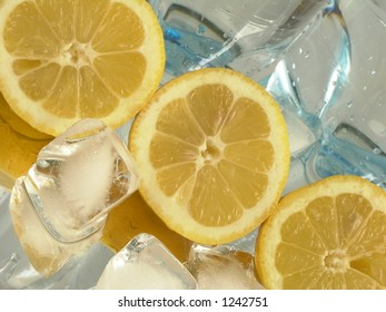Lemons and bottle with  water
