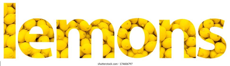 Lemons Fruits Word Concept