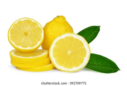 Lemons with green leaves isolated on white background