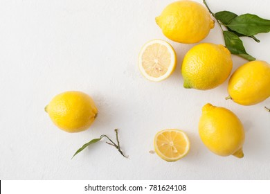 Lemons are in home recipes for cosmetics and cooking to improve immunity and health. The view from the top.