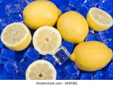 Lemons with ice cubes