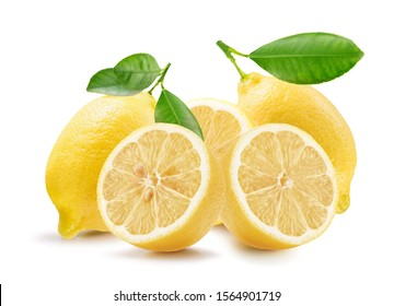 lemons with leaves isolated on a white background