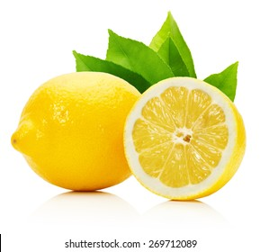 lemons with leaves isolated on the white background