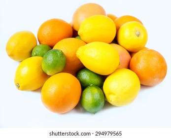Lemons, oranges. limes, and grapefruits isolated