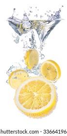 Lemons and water splash. Healthy and tasty food