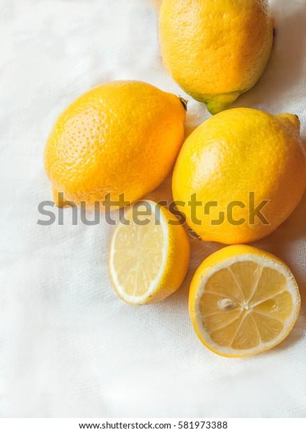 lemons white background natural