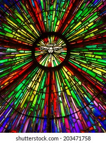 LEMONT, ILLINOIS - JULY 7: Stained glass window inside the St. Patrick Catholic Church on July 7, 2014 in Lemont, Illinois