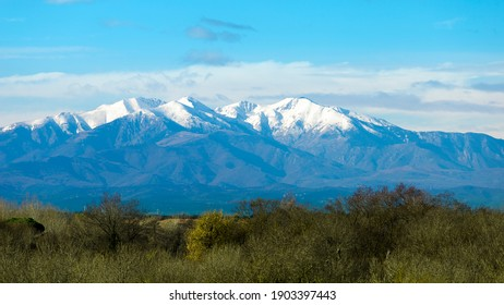 Le-Mont-Canigou mountain, south of France, Mediterranean sea coast. Picture taken from Argeles-sur-mer city. Pyrenees-Orientales, in the Occitanie region.