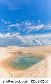 The Lencois Maranhenses in northern Brazil, famous for its fresh water lagoon in a blue sky day