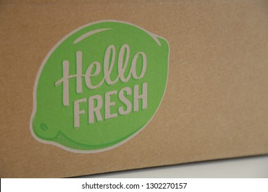 LENDELEDE, BELGIUM - JULY 18TH 2018: a detail of a Hello Fresh cardboard box with its green logo printed on it. Hello Fresh is a food delivery company. Illustrative editorial image.