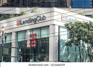 Lending Club  logo and building - San Francisco, CA, USA  - January 23, 2018