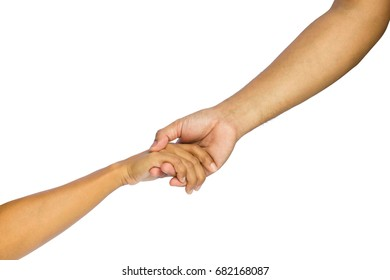 Lending a helping hand, isolated on white background with clipping path