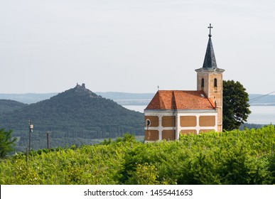 Lengyel-Chapel and the Castle of Szigliget seen from the village of Hegymagas, situated on Saint George Hill near Lake Balaton, Hungary.