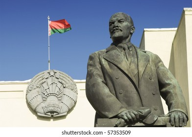 Lenin Sculpture and Belarussian Flag in Minsk