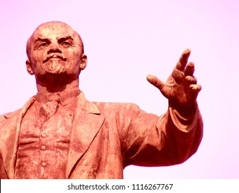 Lenin, Vitebsk, Belarus, 22.03.2018. Lenin  statue, hand point, closeup