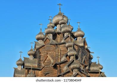 Leningrad district (Saint Petersburg suburbs), Russia. Crosses and domes of the Pokrovskaya church at the Bogoslovka manor.