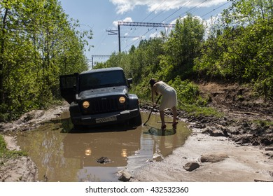 Leningrad oblast, Russia, April 30, 2016: Journey to the Jeep Wrangler unlimited Sahara for Karelian isthmus. Wrangler is a compact four wheel drive off road and sport utility vehicle