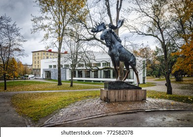 Leningrad oblast, Russia. October 22, 2017. The Elk monument and the Alvar Aalto Library in Vyborg.