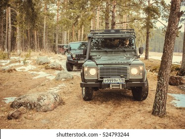 Leningrad Oblast, Russia,March 15, 2014. off-road check out the Jeep Wrangler Club around the Gulf of Finland, the Jeep Wrangler is a compact four wheel drive off road and sport utility vehicle