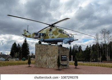 LENINGRAD REGION, RUSSIA - Apr. 22, 2018: Russian Mil Mi-24 (NATO reporting name: Hind) military attack helicopter monument.