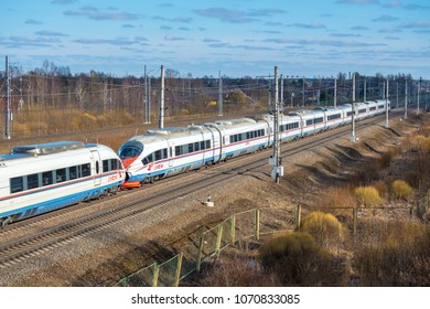 LENINGRAD REGION, RUSSIA - APRIL 10, 2018: High-speed train Sapsan, on the Russian railway in motion. Is a Russian gauge high speed electric express train