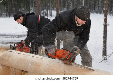 Leningrad Region, Russia - February 2, 2010: Building log cabin in winter outdoors,  loggers make notches on logs using chainsaws.