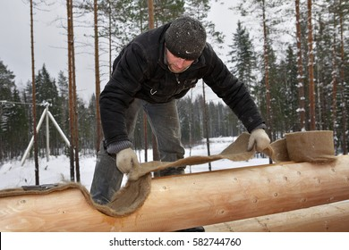 Leningrad Region, Russia - February 2, 2010: The heat insulator between the logs, worker install jute insulation tape.