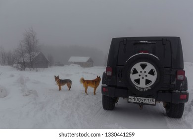 Leningrad region, Russia, February 23, 2019: Jeep Wrangler in a Russian village in the Leningrad region. Wrangler is a compact four wheel drive off road and sport utility vehicle