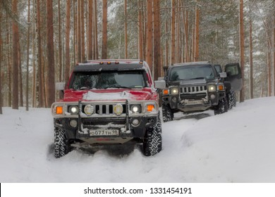 Leningrad region, Russia, March 4, 2019: Hummer H3 on a snowy forest road in the Leningrad region. H3 is a compact four wheel drive off road and sport utility vehicle