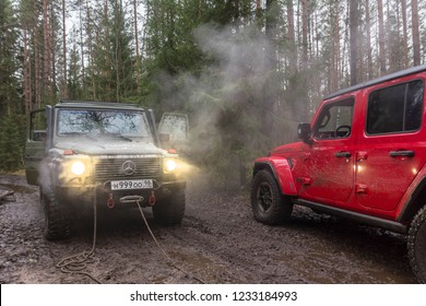 Leningrad region. Russia, November 16, 2018: Mercedes Gelenvagen And new jeep Wrangler Rubicon Jl off-road in the Leningrad region . Gelenvagen is a premium SUV