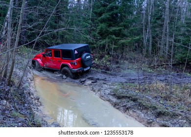 Leningrad region. Russia, November 16, 2018: new off-road jeep Wrangler Rubicon jl in the Leningrad region . Rubicon is a compact four wheel drive off road and sport utility vehicle