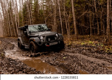 Leningrad region. Russia, November 4, 2018: Jeep Wrangler off-road in the Leningrad region . Wrangler is a compact four wheel drive off road and sport utility vehicle