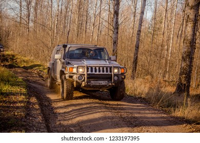 Leningrad region. Russia, November 4, 2018: Hummer H3 off-road in the Leningrad region . H3 is a compact four wheel drive off road and sport utility vehicle