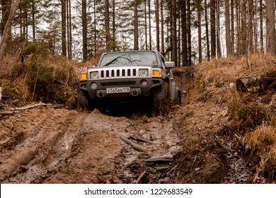 Leningrad region. Russia, November 9, 2018: Hummer H3 off-road in the Leningrad region . H3 is a compact four wheel drive off road and sport utility vehicle