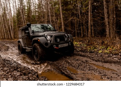 Leningrad region. Russia, November 9, 2018: Jeep Wrangler off-road in the Leningrad region . Wrangler is a compact four wheel drive off road and sport utility vehicle