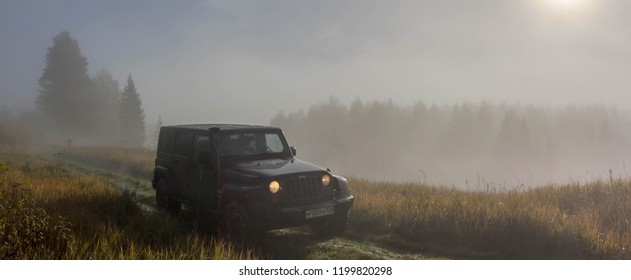 Leningrad region. Russia, October 7, 2018: black Jeep Wrangler on the hunt in the Leningrad region. Wrangler is a compact four wheel drive off road and sport utility vehicle