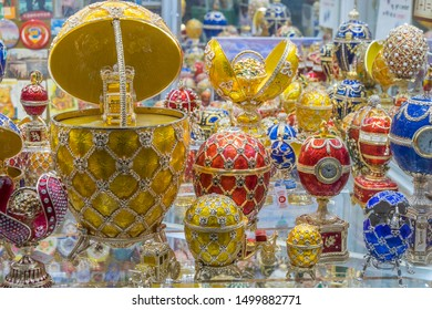 Leningrad, Russia - august 24, 2019: Decorated eggs of Faberge, a typical St. Petersburg souvenir, displayed in a gift shop in the city