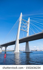Leningrad, Russian Federation - august 25, 2019: Detail view of a bridge at the Western High Speed, a toll road as it passes through the Neva River in St. Petersburg