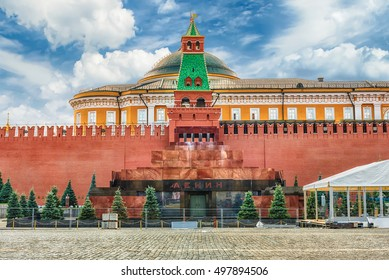 Lenin's Mausoleum, iconic resting place of Vladimir Lenin in the center of Red Square, Moscow, Russia