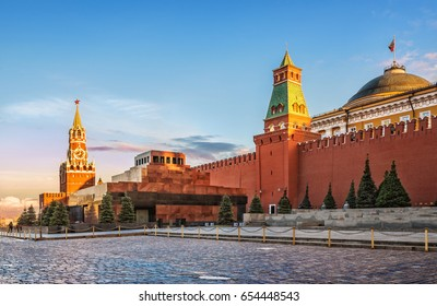 Lenin's Mausoleum in Moscow on Red Square and the Spassky Clock Tower