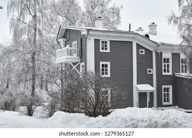 The Lenin's Museum Apartment in Ulyanovsk in Russia in  winter. The house where lived Lenin - the revolution leader of the Soviet Proletariat.