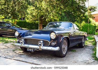 LENNO, ITALY - AUGUST 02, 2015: Black vintage classic car on the street in Italy.