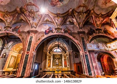 LENNO, ITALY, JUNE 03, 2019 : architectural decors and frescoes in church of Lenno , june 03, 2019, in Como, italy
