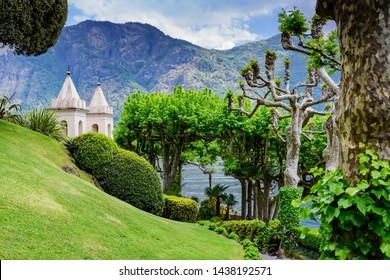Lenno/Italy/05.10.2019. Gardens of Villa Balbianello, view of Lake Como and the surrounding mountains.