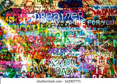 Lennon wall in the sunlight, Prague
